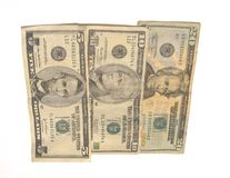US Currency. Closeup of US currency on white background Stock Image