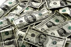 US Currency. Background. Several denominations of money stock photo