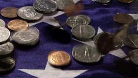 US currency and American flag stock video