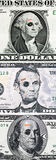 US currency with black eyes. And band aids concept of bad US economy Royalty Free Stock Photo