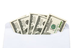 US currency in envelope Royalty Free Stock Images