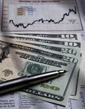 US currency - financial chart Royalty Free Stock Image