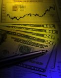 US currency - financial chart Royalty Free Stock Photography