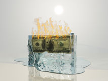 US currency fire melts ice Royalty Free Stock Photos