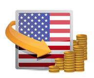 Us currency and flag Royalty Free Stock Photos