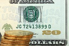 US currency with gold coins Stock Image