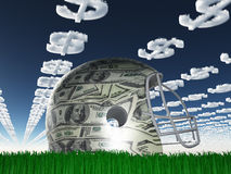 US Currency Helmet on Grass Stock Photos
