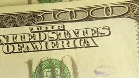US Currency One Hundred Dollar Bills. American currency one hundred dollar bills - Finance and banking concept stock video