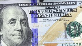 US Currency One Hundred Dollar Bills. American currency one hundred dollar bills - Finance and banking concept stock footage
