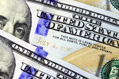 US Currency One Hundred Dollar Bills Stock Images