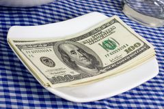 US currency on a plate Stock Photography