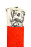 US currency in red pocket Royalty Free Stock Photos