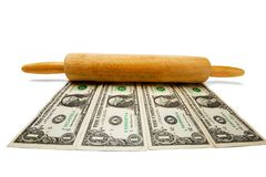 Us Currency With Rolling Pin Royalty Free Stock Photos