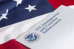 US Customs and Border Enforcement. And USA flag royalty free stock photos