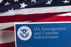 US Customs and Border Enforcement. And USA flag stock photos
