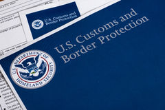 US Customs and Border Protection. Form to fill out Royalty Free Stock Photo