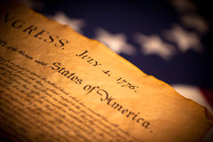 US Declaration of Independence on flag background Stock Photo