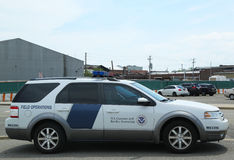 US Department of Homeland Security US Customs and  Border Protection providing security for Queen Mary 2 cruise ship. NEW YORK CITY - JULY 27: US Department of Royalty Free Stock Photos