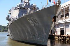 US Destroyer. US Navy Destroyer docked in New York during fleet week Royalty Free Stock Images
