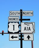 US 1 and A1A direction sign Stock Photos