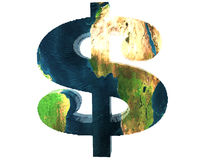 Us dollar. Sign with earth texture Stock Photography