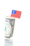 The US dollar. US flag and a dollar bill on white Stock Photography