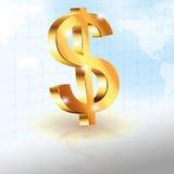 US dollar. 3d gold dollar sign world background illustration stock illustration