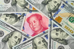 US dollar against China Yuan. US one hundred dollar bills surrounding against China Yuan note Royalty Free Stock Photography