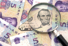 US dollar against china yuan and a magnifier Stock Photography