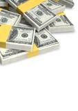 US-Dollar Anmerkungen zerstreuter Stapel Stockbild