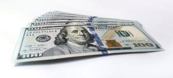 US-Dollar auf weißem Hintergrund Stockfotos