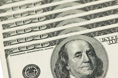 US dollar bank notes arranged in row. US dollar bank notes  arranged in row Royalty Free Stock Photography