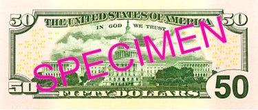 50 us-dollar bankbiljetomgekeerde royalty-vrije illustratie