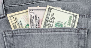 US dollar banknote in the grey jean pocket Stock Photography