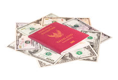 Us dollar banknote with Thailand passport Stock Image