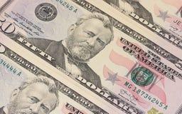 50 US-Dollar Banknoten Hintergrund oder Beschaffenheit Lizenzfreie Stockfotos