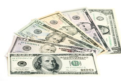 US Dollar banknotes. All US Dollar banknotes on a stack Stock Photos