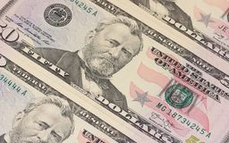 50 US dollar banknotes background or texture. Royalty Free Stock Photos