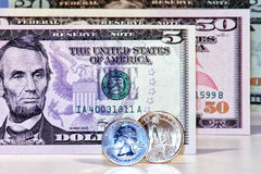 Us dollar banknotes and coins. Original photo us dollar banknotes and coins royalty free stock photo