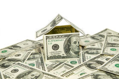 US dollar banknotes on display in the shape of a house Royalty Free Stock Photos