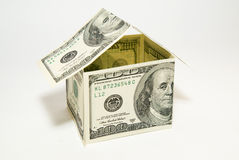 US dollar banknotes on display in the shape of a house on over w Stock Images