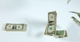 1 US Dollar Banknotes flying against White Background,. Slow Motion 4K stock video footage