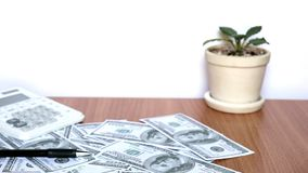 US dollar banknotes stock footage
