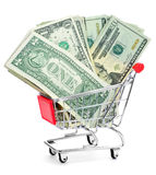 US dollar banknotes in a shopping cart Royalty Free Stock Photo