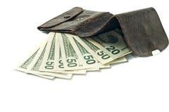 US dollar banknotes and wallet Stock Photos