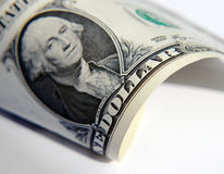 US dollar bill. Close-up of American dollar bank note focused on writing stock photo