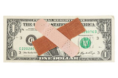 US dollar bill with bandages Royalty Free Stock Photo