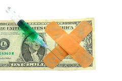 US dollar bill with bandaids Royalty Free Stock Images