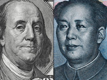 US dollar bill and China yuan banknote macro, Chinese and USA ec Stock Image