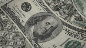 US dollar bill close-up, lots of american money background, banking and finance. Stock footage stock illustration